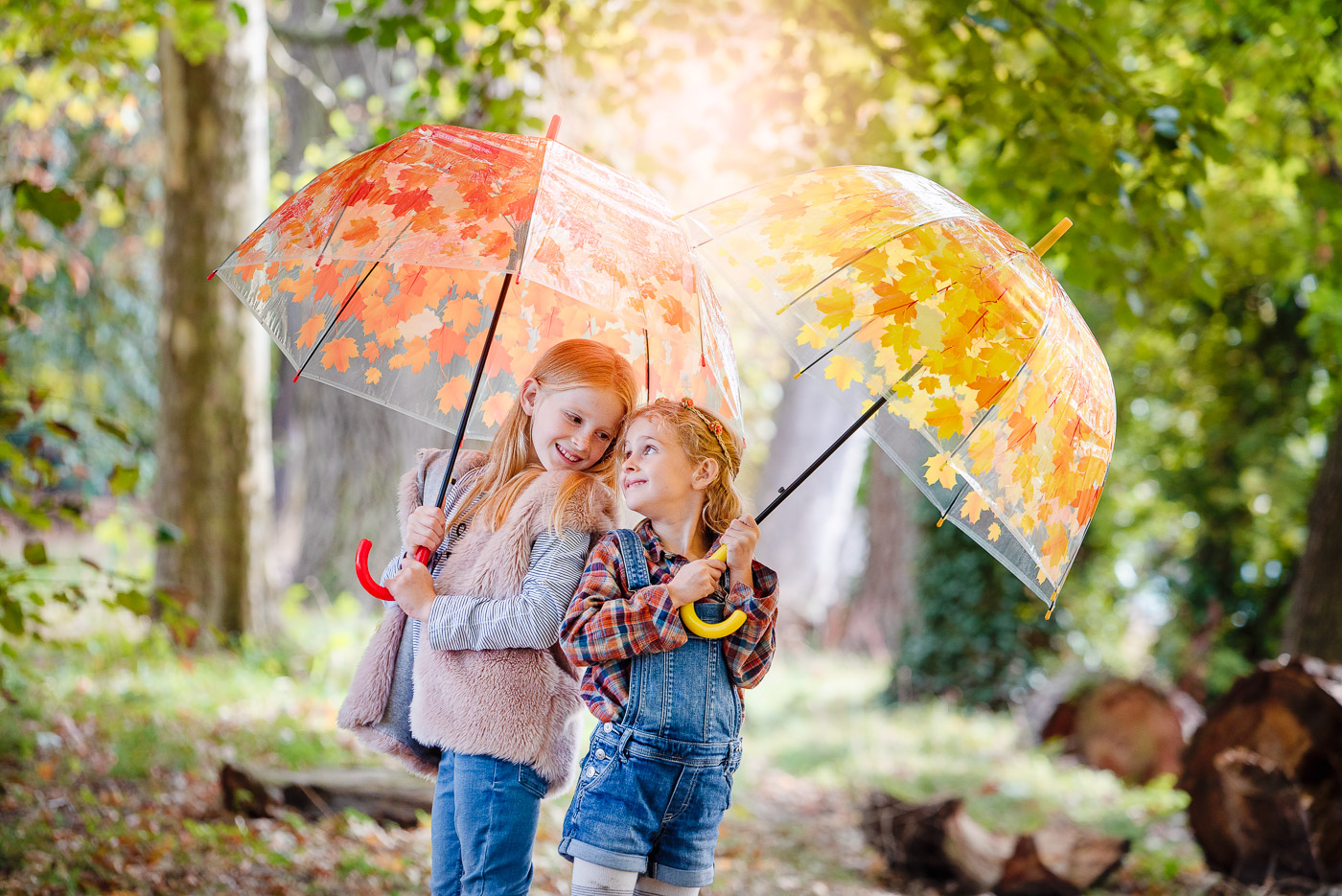 Lovely young sisters looking at each other and holding umbrellas with yellow and orange leaves