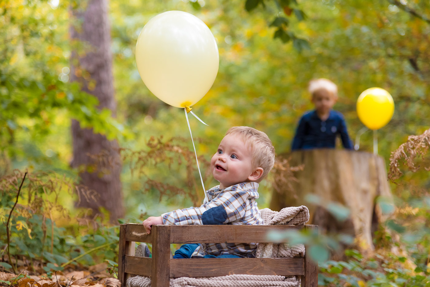 Smiling little boy in a crate holds the balloon while his brother in the background is watching